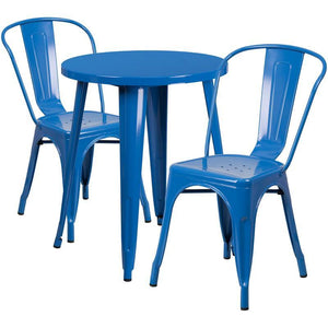 24'' Round Blue Metal Indoor-Outdoor Table Set with 2 Cafe Chairs