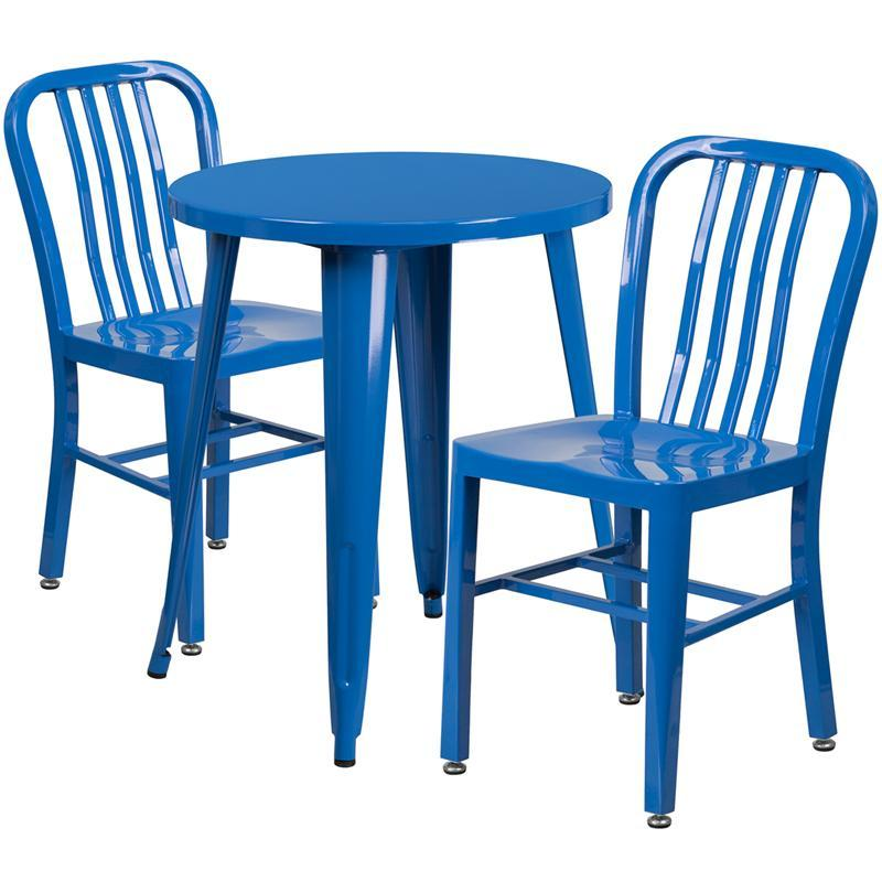 24'' Round Blue Metal Indoor-Outdoor Table Set with 2 Vertical Slat Back Chairs
