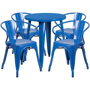24'' Round Blue Metal Indoor-Outdoor Table Set with 4 Arm Chairs