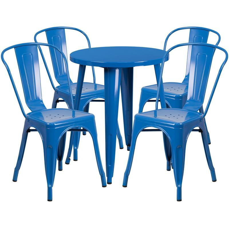 24'' Round Blue Metal Indoor-Outdoor Table Set with 4 Cafe Chairs