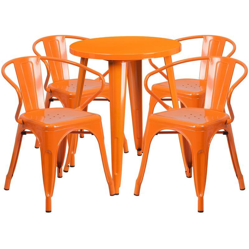 24'' Round Orange Metal Indoor-Outdoor Table Set with 4 Arm Chairs