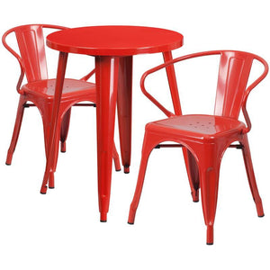 24'' Round Red Metal Indoor-Outdoor Table Set with 2 Arm Chairs
