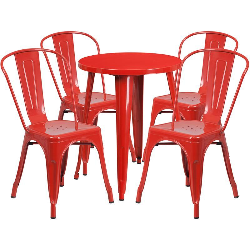 24'' Round Red Metal Indoor-Outdoor Table Set with 4 Cafe Chairs