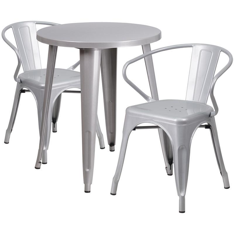 24'' Round Silver Metal Indoor-Outdoor Table Set with 2 Arm Chairs