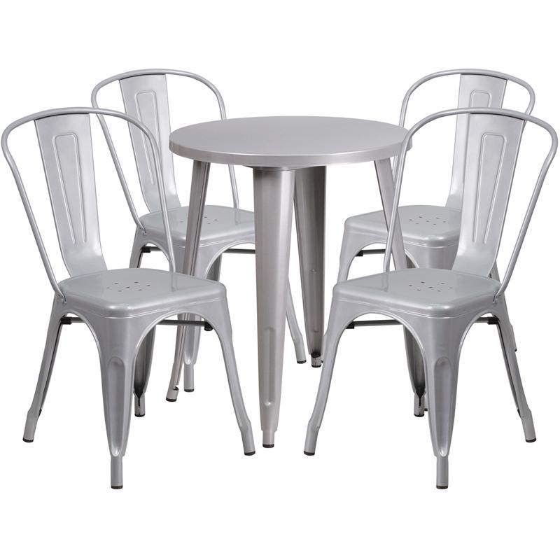 24'' Round Silver Metal Indoor-Outdoor Table Set with 4 Cafe Chairs