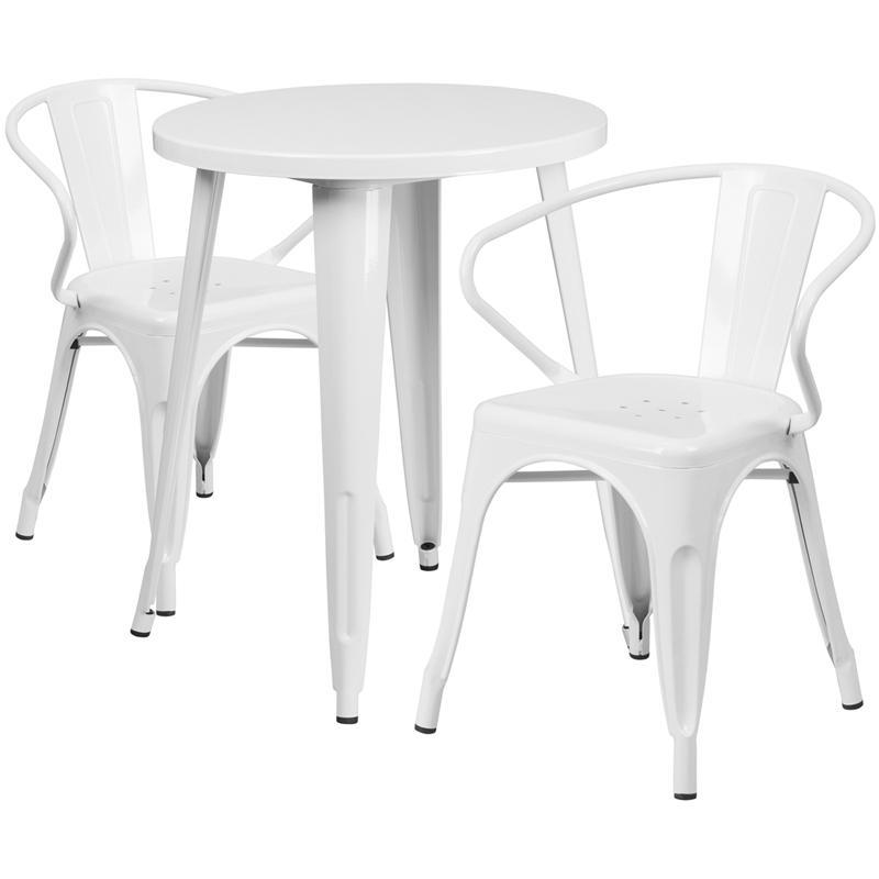 24'' Round White Metal Indoor-Outdoor Table Set with 2 Arm Chairs
