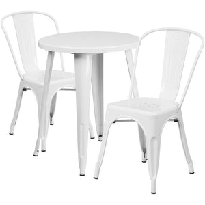 24'' Round White Metal Indoor-Outdoor Table Set with 2 Cafe Chairs