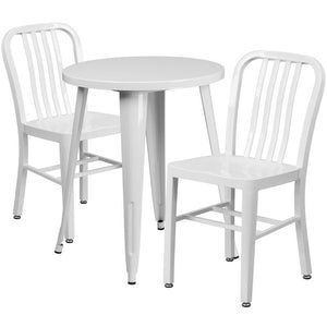 24'' Round White Metal Indoor-Outdoor Table Set with 2 Vertical Slat Back Chairs