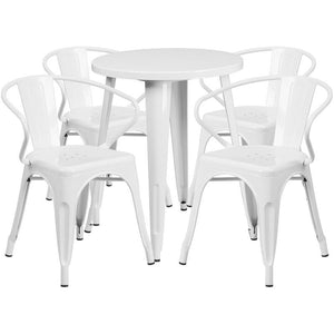 24'' Round White Metal Indoor-Outdoor Table Set with 4 Arm Chairs
