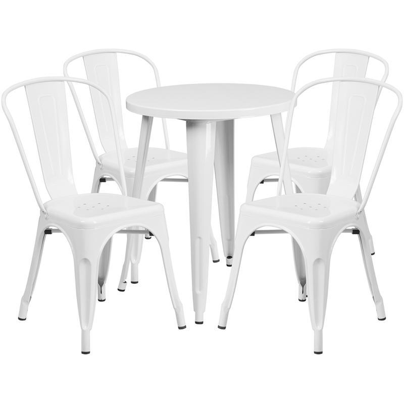 24'' Round White Metal Indoor-Outdoor Table Set with 4 Cafe Chairs