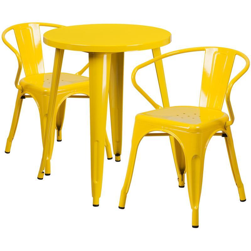 24'' Round Yellow Metal Indoor-Outdoor Table Set with 2 Arm Chairs