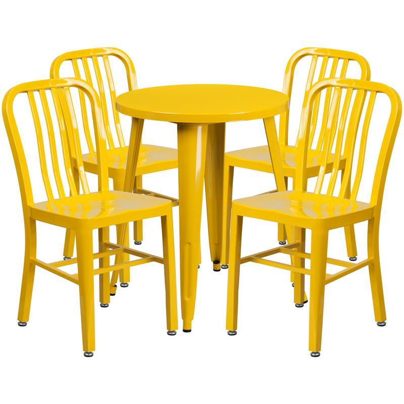 24'' Round Yellow Metal Indoor-Outdoor Table Set with 4 Vertical Slat Back Chairs