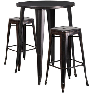 30'' Round Black-Antique Gold Metal Indoor-Outdoor Bar Table Set with 2 Square Seat Backless Stools