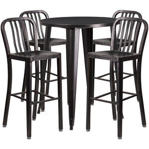 30'' Round Black-Antique Gold Metal Indoor-Outdoor Bar Table Set with 4 Vertical Slat Back Stools