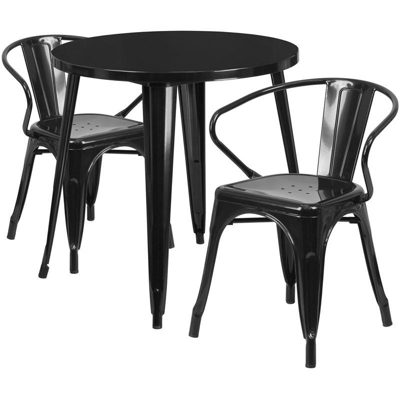 30'' Round Black Metal Indoor-Outdoor Table Set with 2 Arm Chairs