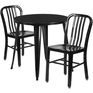 30'' Round Black Metal Indoor-Outdoor Table Set with 2 Vertical Slat Back Chairs