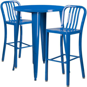 30'' Round Blue Metal Indoor-Outdoor Bar Table Set with 2 Vertical Slat Back Stools