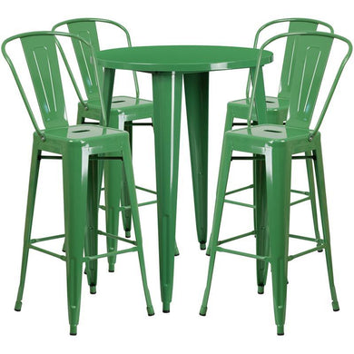 30'' Round Green Metal Indoor-Outdoor Bar Table Set with 4 Cafe Stools