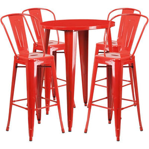 30'' Round Red Metal Indoor-Outdoor Bar Table Set with 4 Cafe Stools
