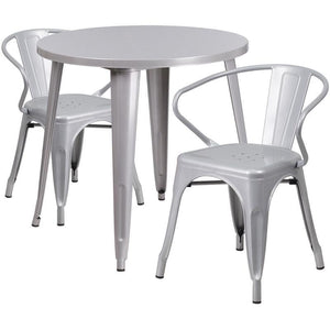 30'' Round Silver Metal Indoor-Outdoor Table Set with 2 Arm Chairs