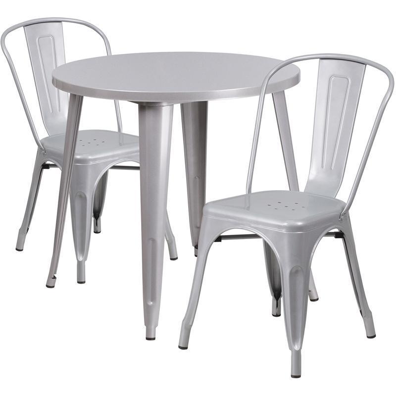 30'' Round Silver Metal Indoor-Outdoor Table Set with 2 Cafe Chairs