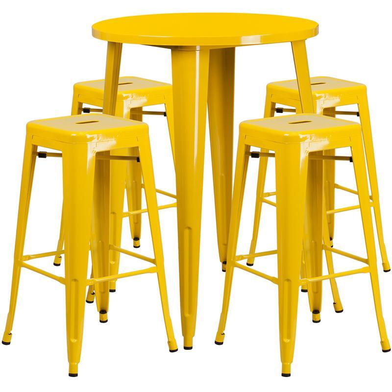 30'' Round Yellow Metal Indoor-Outdoor Bar Table Set with 4 Square Seat Backless Stools