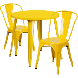 30'' Round Yellow Metal Indoor-Outdoor Table Set with 2 Cafe Chairs