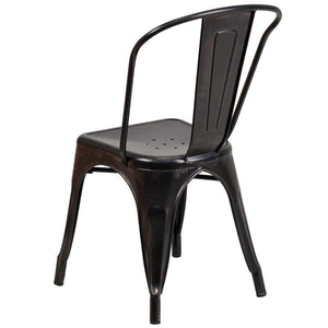 Black-Antique Gold Metal Indoor-Outdoor Stackable Chair