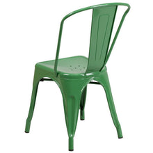 Load image into Gallery viewer, Green Metal Indoor-Outdoor Stackable Chair