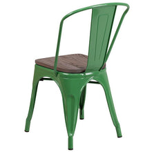 Load image into Gallery viewer, Green Metal Stackable Chair with Wood Seat