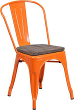 Load image into Gallery viewer, Orange Metal Stackable Chair with Wood Seat