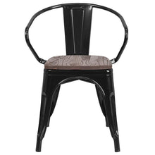 Load image into Gallery viewer, Black Metal Chair with Wood Seat and Arms