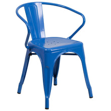 Load image into Gallery viewer, Blue Metal Indoor-Outdoor Chair with Arms