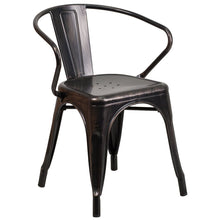 Load image into Gallery viewer, Black-Antique Gold Metal Indoor-Outdoor Chair with Arms