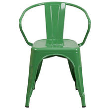 Load image into Gallery viewer, Green Metal Indoor-Outdoor Chair with Arms