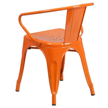 Load image into Gallery viewer, Orange Metal Indoor-Outdoor Chair with Arms