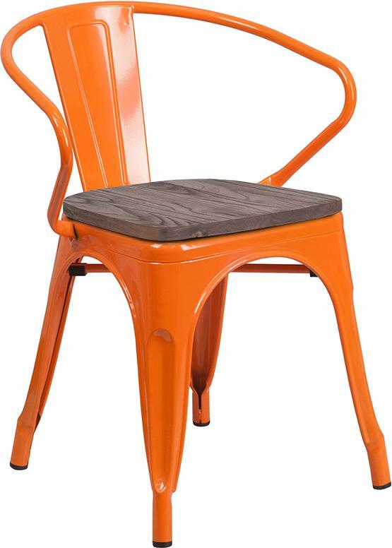 Orange Metal Chair with Wood Seat and Arms