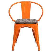 Load image into Gallery viewer, Orange Metal Chair with Wood Seat and Arms