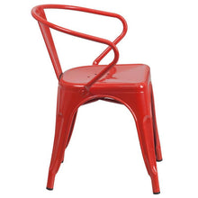 Load image into Gallery viewer, Red Metal Indoor-Outdoor Chair with Arms