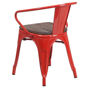 Red Metal Chair with Wood Seat and Arms