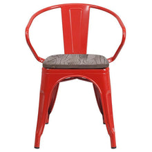 Load image into Gallery viewer, Red Metal Chair with Wood Seat and Arms