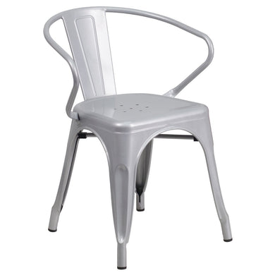 Silver Metal Indoor-Outdoor Chair with Arms