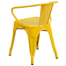 Load image into Gallery viewer, Yellow Metal Indoor-Outdoor Chair with Arms