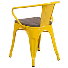 Load image into Gallery viewer, Yellow Metal Chair with Wood Seat and Arms