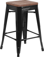 "Load image into Gallery viewer, 24"" High Backless Black Metal Counter Height Stool with Square Wood Seat"