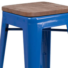 "Load image into Gallery viewer, 24"" High Backless Blue Metal Counter Height Stool with Square Wood Seat"