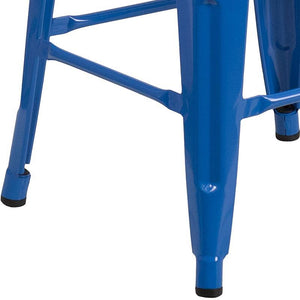 "24"" High Backless Blue Metal Counter Height Stool with Square Wood Seat"
