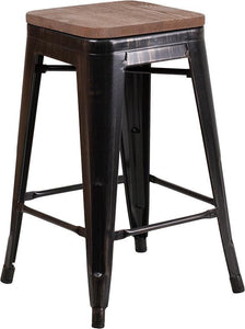 "24"" High Backless Black-Antique Gold Metal Counter Height Stool with Square Wood Seat"