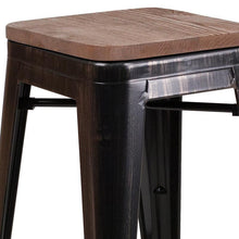 "Load image into Gallery viewer, 24"" High Backless Black-Antique Gold Metal Counter Height Stool with Square Wood Seat"