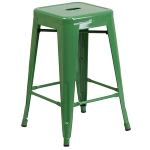 24'' High Backless Green Metal Indoor-Outdoor Counter Height Stool with Square Seat